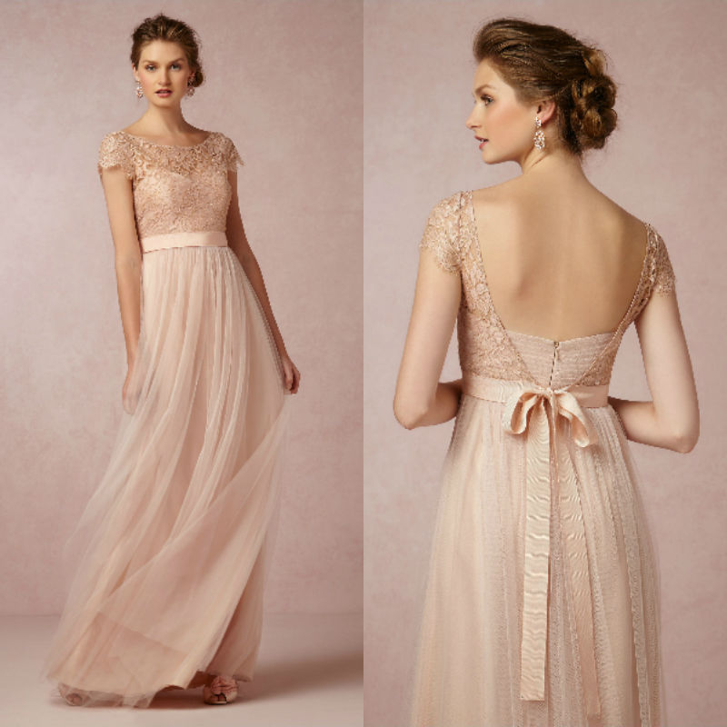 Cheap Blush Scoop Lace Cap Sleeve Long Bridesmaid Dresses