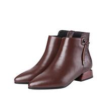 MLJUESE 2019 kadın yarım çizmeler inek deri fermuarlar geometrik düşük topuk çizmeler kış kısa peluş yarım çizmeler parti elbise boyutu 40(China)
