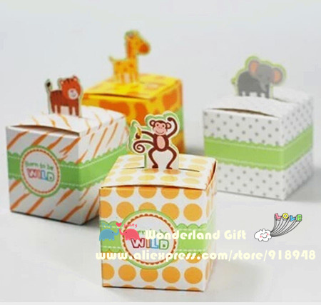 50pcs zoo/tiger/monkey/giraffe animal candy boxes,kid children girls gift,happy birthday party supplies decorations,baby shower(China (Mainland))
