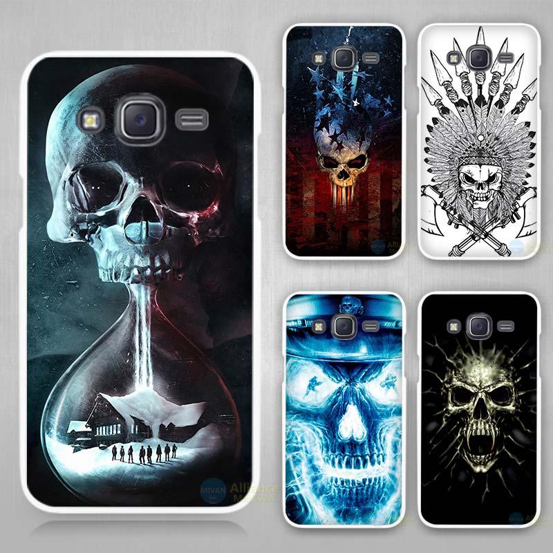 skull Hard White Case Cover Samsung Galaxy J1 J2 J3 J5 J7 C5 C7 C9 E5 E7 2016