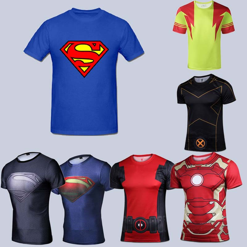 2015 new men Quick dry shirt superman/batman/gym/outdoor movement t fit tight shirts sports t-shirt - Sell like hot cakes every day store