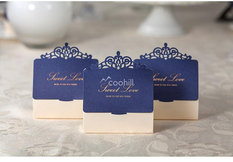 5Royal Blue Laser Cut Paper Wedding Favor Boxes Candy Box Casamento supplies Decors Chocolate Bag 7.5*8.5*3.5cm - Coohill store