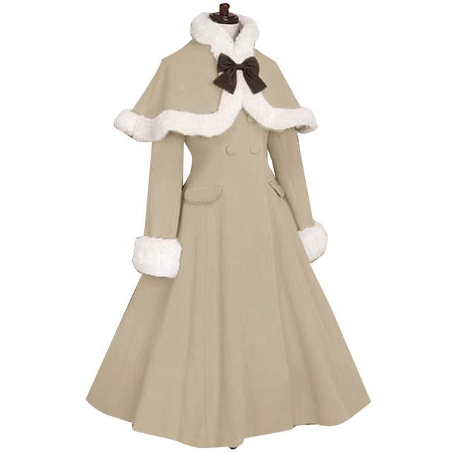Элегантный На Заказ Лолита Пальто женщин Зиму Шерстяное Пальто с Меховыми Манжетами и Мыс Куртка