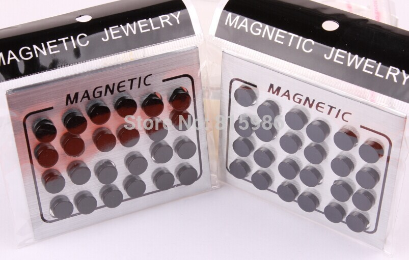 12pairs/lot Black Magnet Circle Round Stud Earring Stainless Steel Magnetic Ear Studs Piercing Men Jewelry - JK Body Factory store