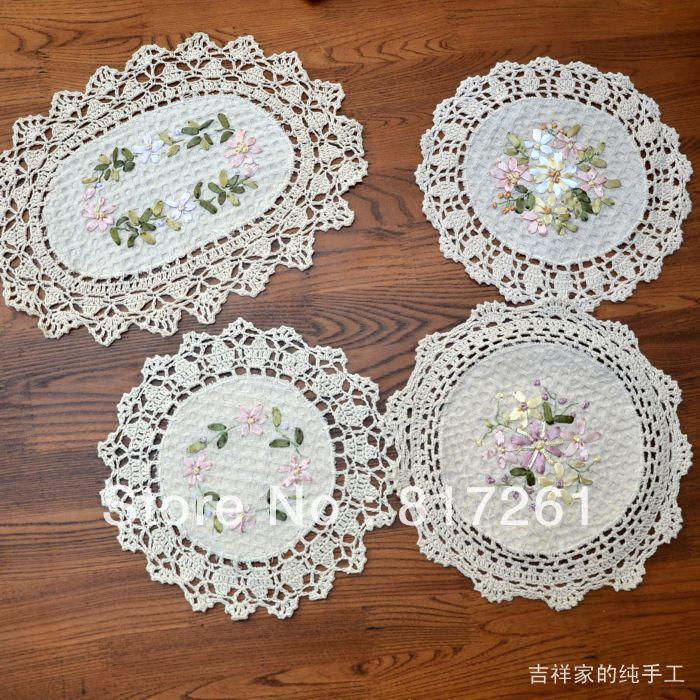 livraison gratuite beige ronde coton crochet napperons en dentelle fleurs broderie napperon. Black Bedroom Furniture Sets. Home Design Ideas