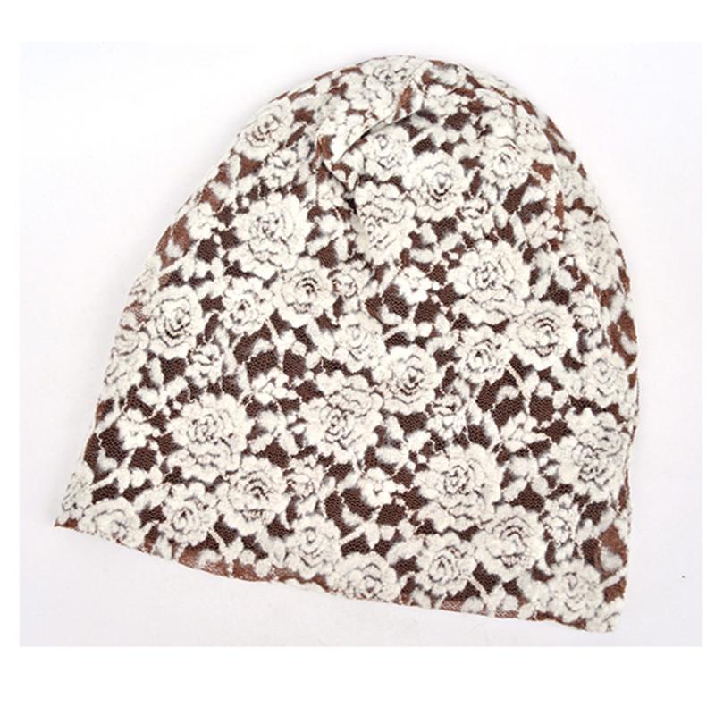 Free shipping 2014 Fashion Autumn winter hats for women Beanies The lace flower Turban Cap Skullies