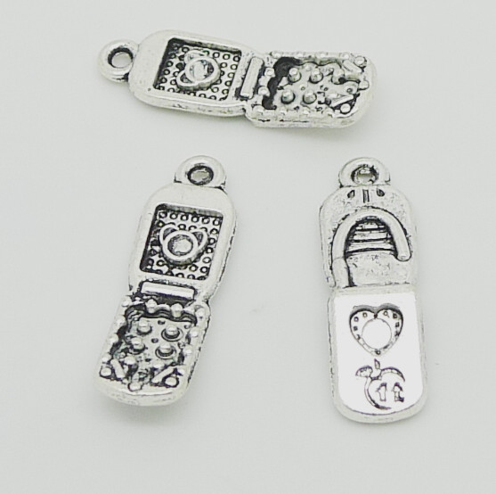 Charms mobile phone 60pcs 21*8mm No.QY07431 Tibetan Silver Plated Pendants Antique Jewelry Making DIY Handmade Craft(China (Mainland))