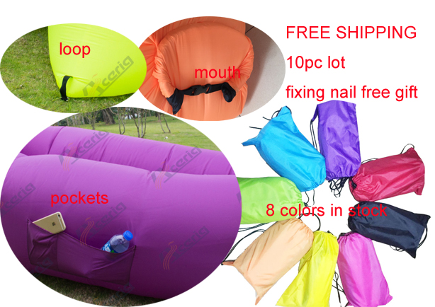 10pc pack air sleeping bag 2pc fixing nails as free gift camping bed inflatable air bag laybag pockets and loop outdoor sofa(China (Mainland))