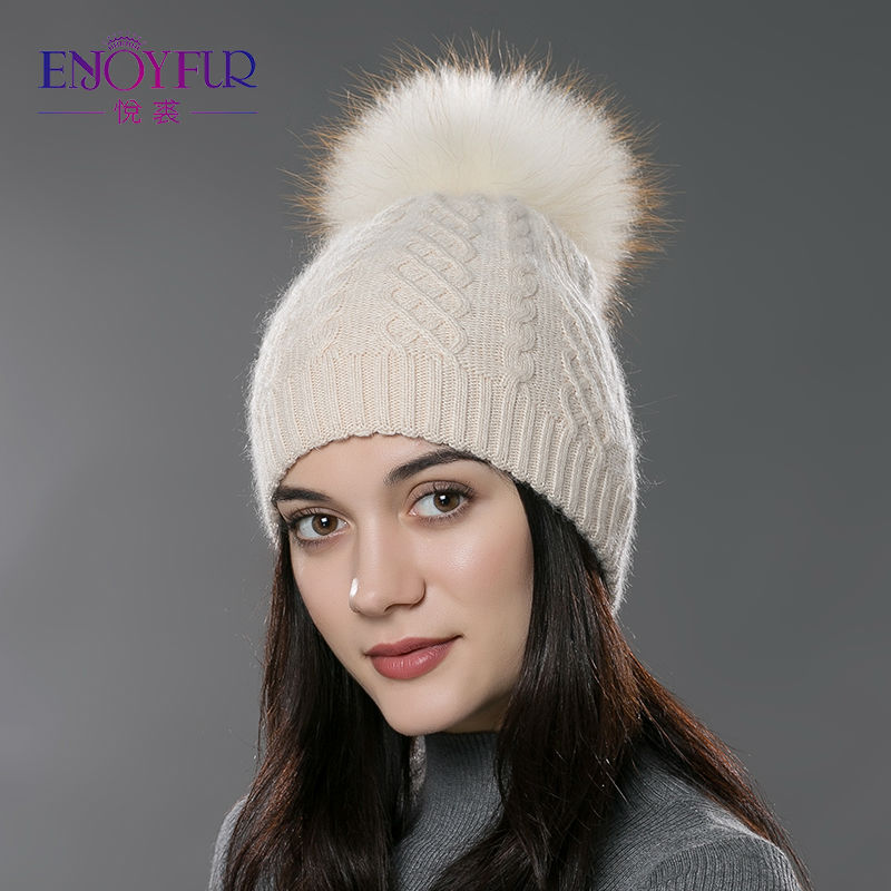ENJOY FUR Winter fur pompom hat for women cashmere wool cotton hat Big Real Raccoon fur pompom Beanies cap Fox fur bobble hat(China (Mainland))