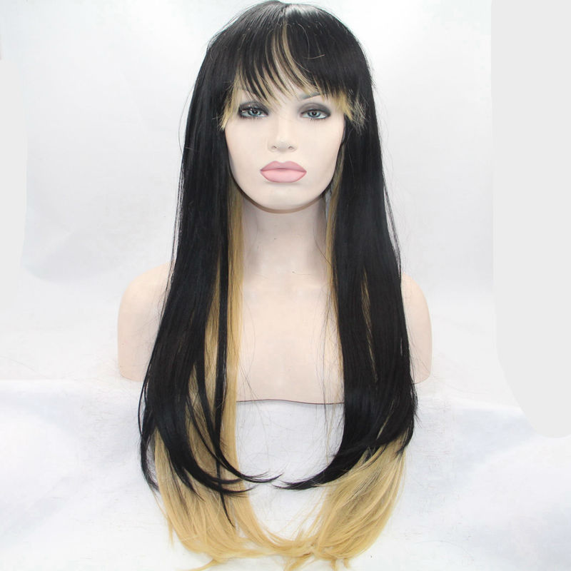 synthetic mix color black yellow blonde lace front wig with bangs for heat resistant fiber for africa american black women