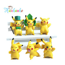 6pcs/Lot 4cm Japanese Anime Doll Pokemon Pikachu PVC Action Figures Model Toy Children