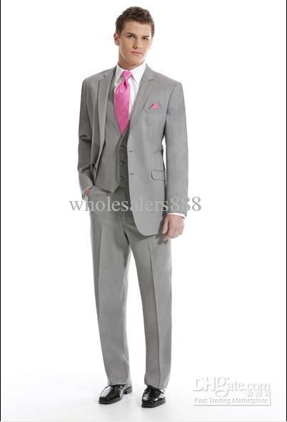 New Arrival Two Buttons Light Grey Groom Tuxedos Best Man Notch Lapel Groomsmen Men Wedding Suits Bridegroom (Jacket+Pants+Tie+V(China (Mainland))