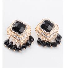 New Fashion Korean Trendy  Cute Black Flower Earring Vintage Stud Earrings For Women Brand Earing Bijou  Jewellery 2014(China (Mainland))