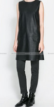Women Casual Styley Faux Leather Sleeveless Black Dress S-L WDRS236(China (Mainland))