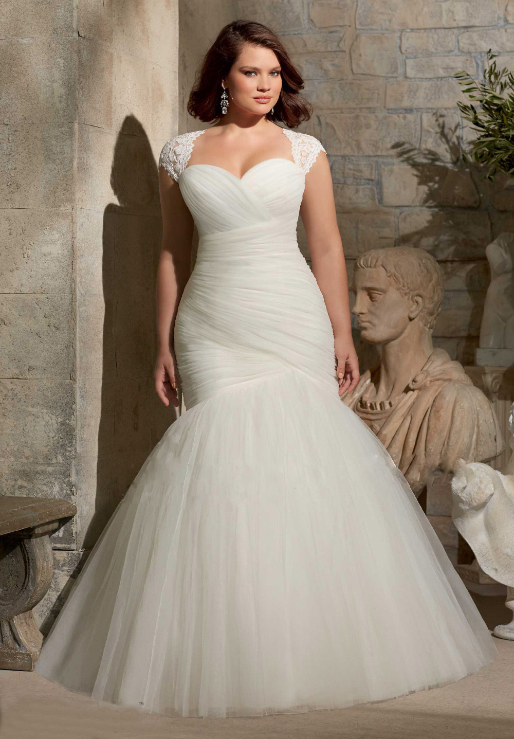Hot new custom pleated organza tulle simple elegant sexy for Off white plus size wedding dresses