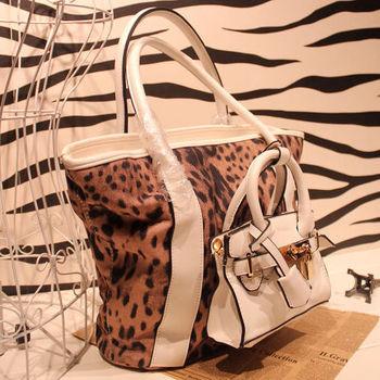 Fashion leopard print taping platinum package lock sachemic handbag ol elegant one shoulder cross-body bags female big bag