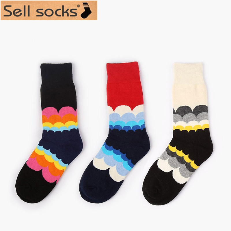 Women socks style Wave Gradient Rainbow women socks New 2015 sport cotton sock for women free size 35-40 HP07(China (Mainland))