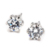Six Claws 5mm 0.5ct Stellux CZ  Real Gold Platinum Plated Silver Color Crystal Stud Earrings Jewelry Wholesale E035