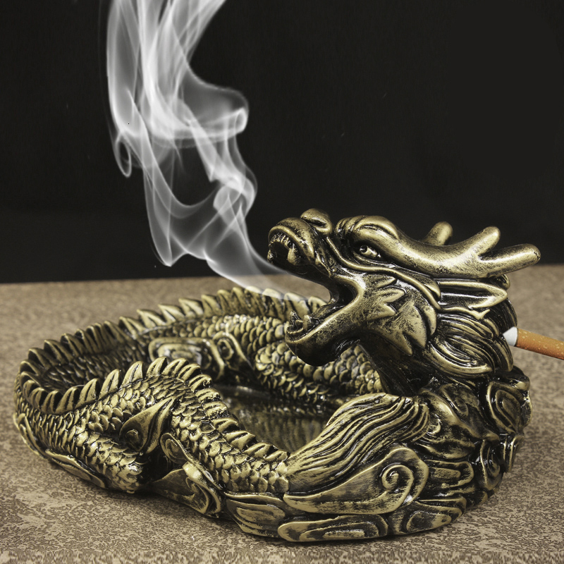 Creative Design Unique Portable Living Room Ashtray for Car interior Home Frame dragon ashtray as gift for friends(China (Mainland))