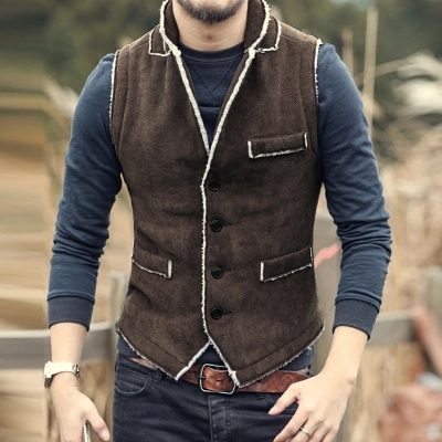 Casual Men Brown Vest Slim Fit cotton Waistcoat Winter Warm Men single breasted Vest Mens Jacket Sleeveless veste homme 2016 New(China (Mainland))