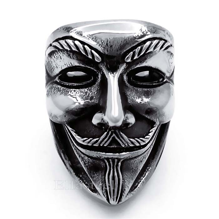 Men's Boy's Fashion Anonymous V for Vendetta Mask Solid 316L Stainless Steel Ring Wholesale size 7-13(China (Mainland))