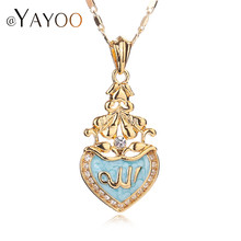 AYAYOO Fine Jewelry For Women Men Allah Necklace18K Real Gold Plated Pendant Classic Choker Islamic Accessories Holiday Bridal