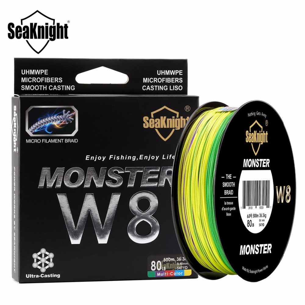 SeaKnight Monster W8 Multi-Color 8 Strands Wide Angle Tech PE Fishing Line 500M 20-100LB Braided Fish Lines Sea Fishing Rope(China (Mainland))