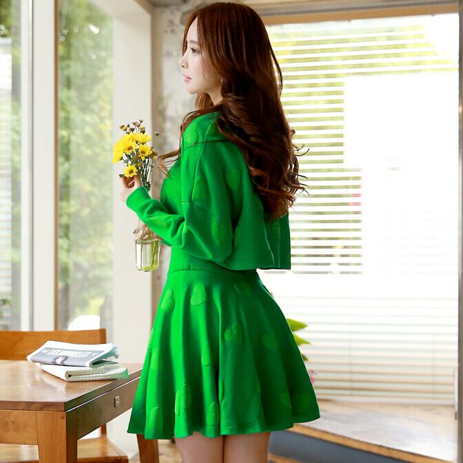 Original New Design 2016 Brand Spring and Autumn Kawaii Faldas Plus Size Slim Fashion Short Green Pleated Skirt Women WholesaleОдежда и ак�е��уары<br><br><br>Aliexpress