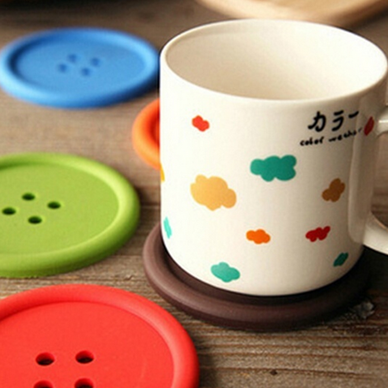 1 Pc Creative Button Cup Placemat Silicone Coaster Pad Table Decoration 28512(China (Mainland))
