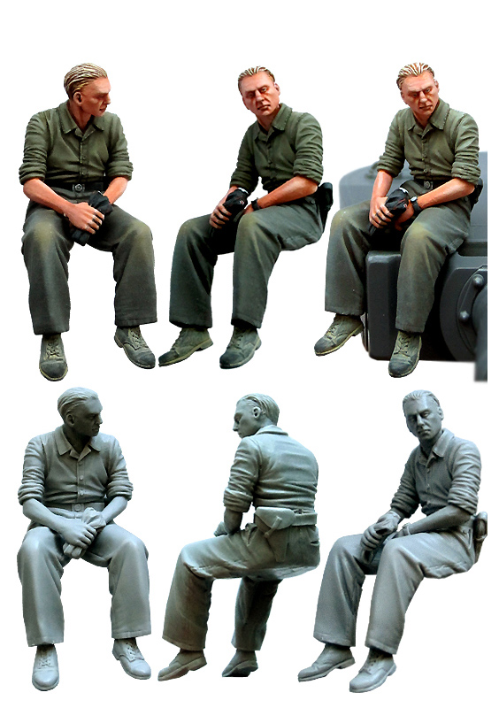 1 35 scale resin figures tiger tank crew WW2 German soldiers(China (Mainland))