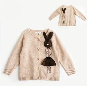 2015 Baby Girl Sweater Winter Korean Style Fashion Child 3D Vivid Miss Rabbit Sweater Girl's Gentlewomen Cardigan Kid's Knitwear(China (Mainland))