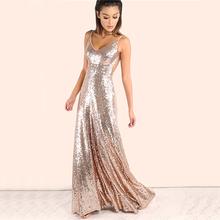 COLROVIE Rose Gold Sequin Party Maxi Dress Sexy Backless Slip Long Summer Dresses  Women Empire Elegant 762672e10e33