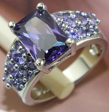 Hot sale 1pc 925 Sterling Silver Purple CZ Wonderful Woman's Ring Size 7 8 9(China (Mainland))