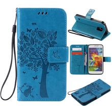 Buy coque Samsung S5 case Fundas Samsung Galaxy S5 SV I9600 3D Tree Cat Pattern Wallet Magnet Flip Cover Leather Case stand for $3.91 in AliExpress store