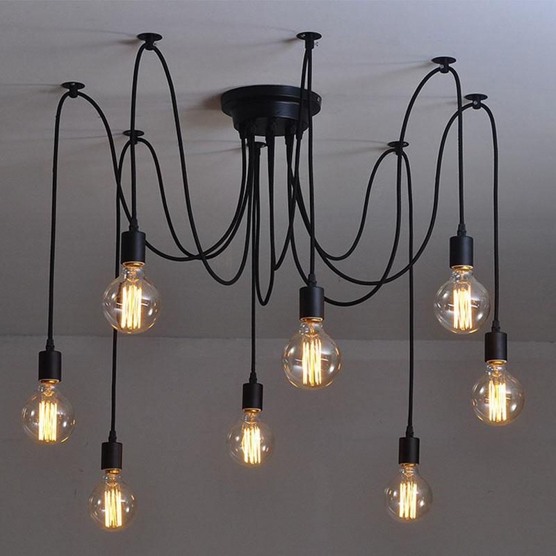 Modern Nordic Retro Edison Bulb Light Chandelier Vintage Loft Antique Adjustable DIY E27 Art Spider Pendant Lamp Home Lighting - Icebergs Mall store