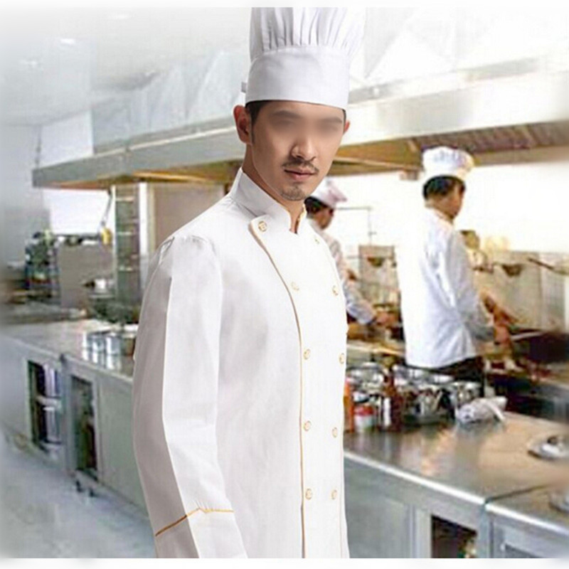 Cooking apron Chef Uniforms Clothing white Long sleeve men women Food Services Cooking Clothes Double-Breasted with pocket(China (Mainland))
