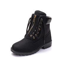 MORAZORA 2019 yeni moda yarım çizmeler kadınlar için yuvarlak ayak dantel kadar zip rahat serseri ayakkabı sonbahar kış çizmeler kadın büyük boyutu 41(China)