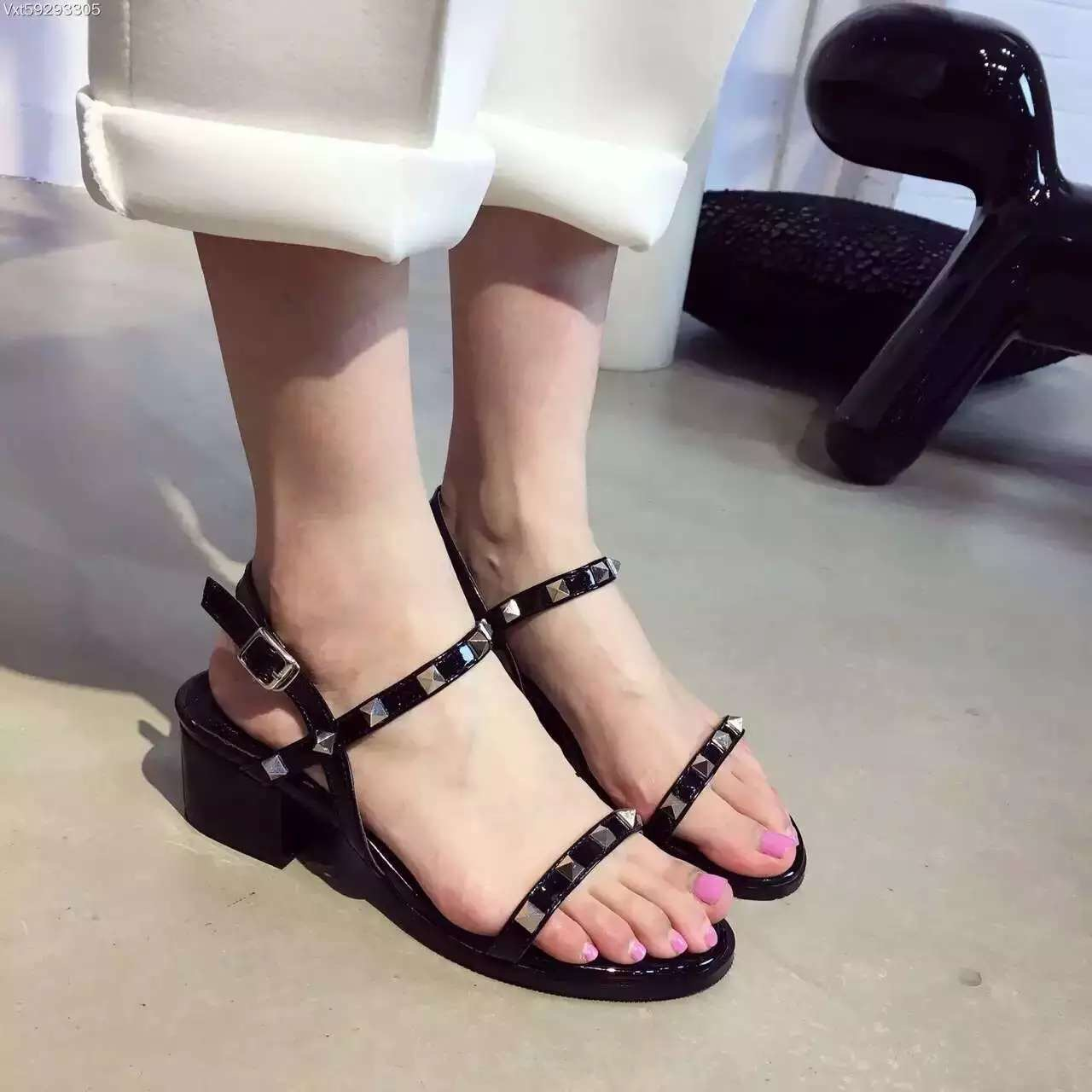 Black Ankle Strap Sandals Low Heel