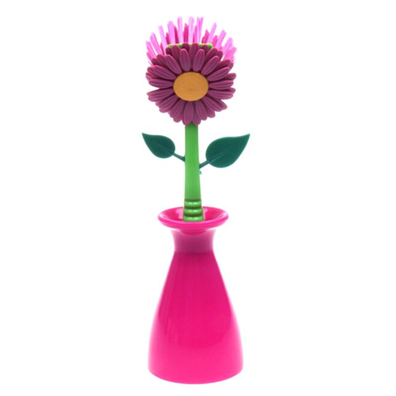 Colorful Useful Flower Kitchen Cleaning Brush Pan Pot Brush 1 Pcs Multi Bathroom Plastic Brush Cleaning Tool Free Shipping(China (Mainland))