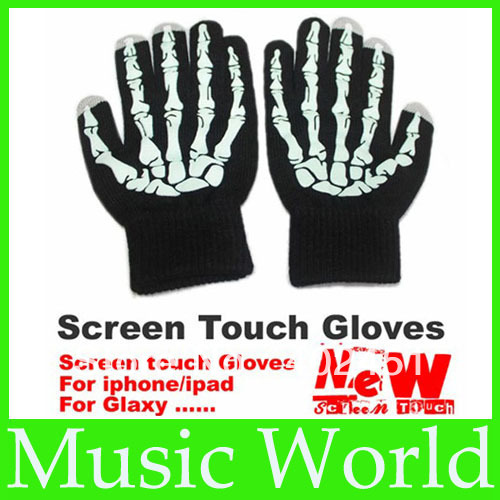Free shipping black purple Full Finger Screen touch Gloves 1 pair