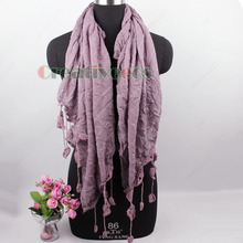 Vintage Elegent Stylish Unique Crochet Lace Tassel Plaid Long Scarf Wrap Stole Shawl New