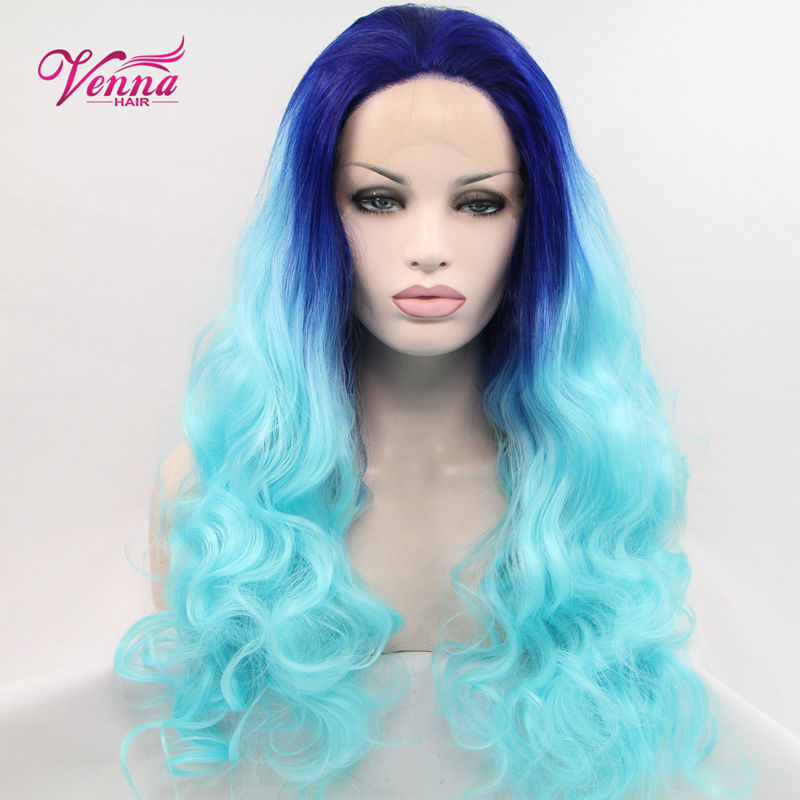 Details about Rock Punk Long Curly Wavy Ombre Green Blue Cosplay Hair Wig Woman Party<br><br>Aliexpress