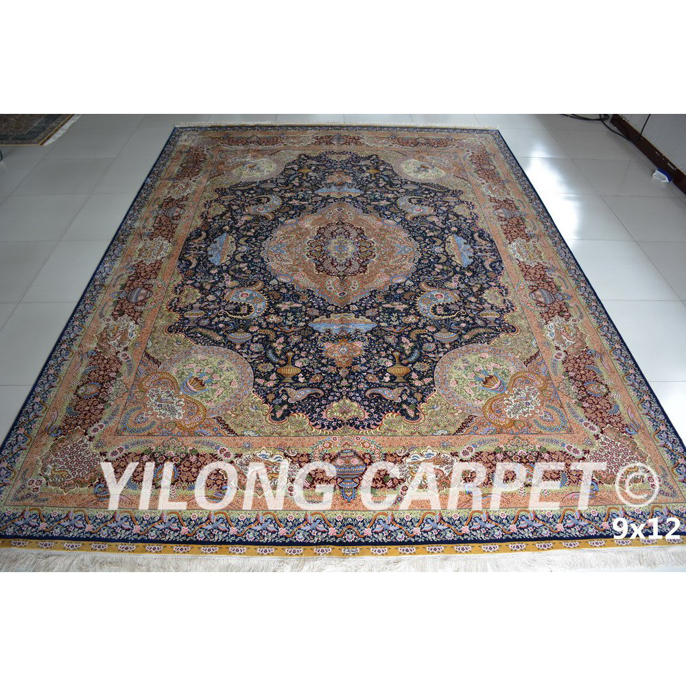 Compra persa alfombra azul online al por mayor de china for Alfombra persa azul