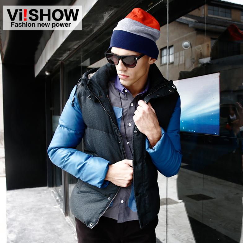Viishow patchwork design duck down jacket men warm coat winter trench men clothes for outdoor sport