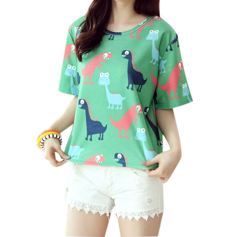 New 2015 Summer thin Korean Style fashion loose girl women's O-neck short sleeve woven dinosaurs print women t shirt 1026(China (Mainland))