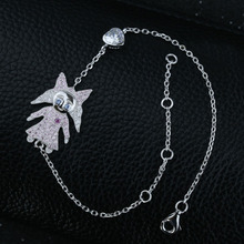 New Adjustable Authentic 925 Sterling Silver Figure Charm Link Chain Slave Bracelet Nice Gift For Girl and Boy(China (Mainland))
