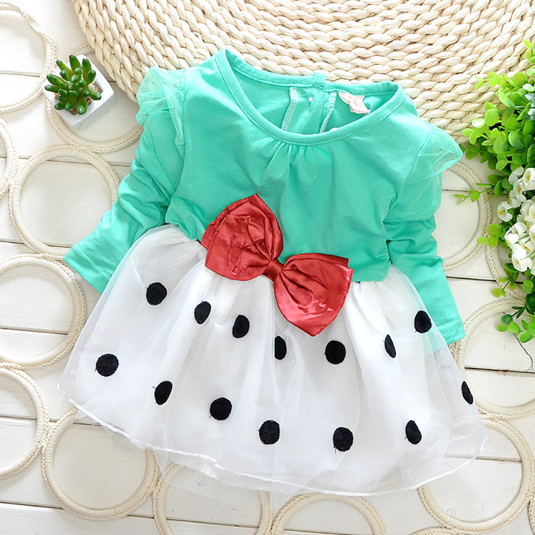 Free shipping Spring Autumn New Kids Baby Dress Puff Dot Bow Splice Pompon white veil Pink, green, navy Children's dresses