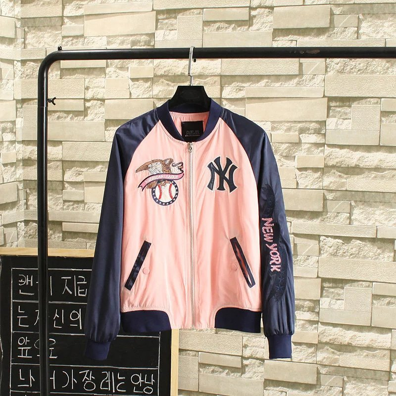 FG-60 European style fashion embroidery color models long sleeved jacket collar couples baseball uniform 0705(China (Mainland))