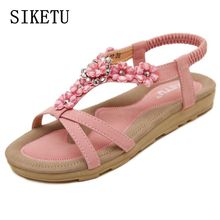 Buy Summer new sweet woman sandals Bohemia flower fashion flat sandals large size soft bottom casual comfortable woman shoes35 40 41 for $15.30 in AliExpress store
