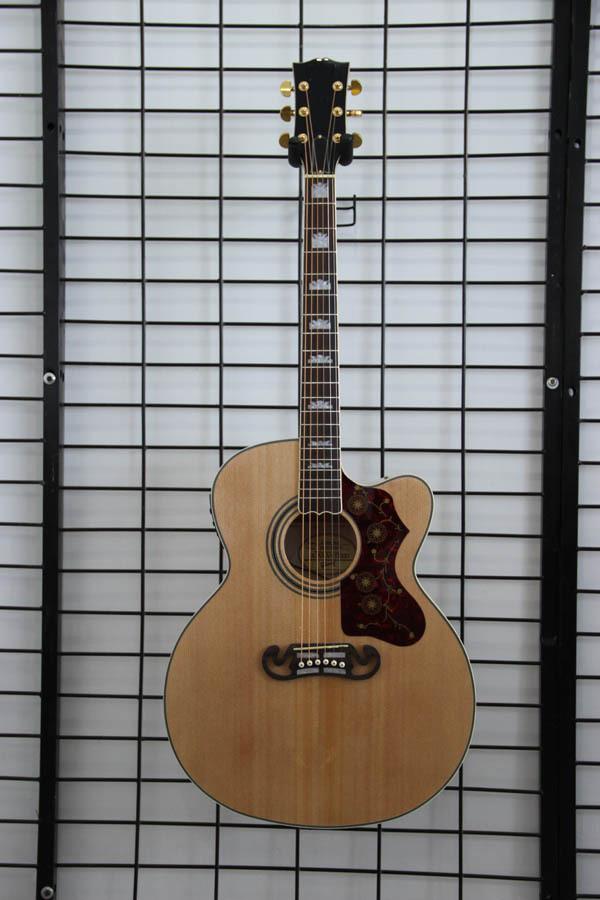 Free shipping China handmade J2002 nature cut away electric acoustic guitar(China (Mainland))
